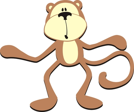 Chimp: isolated cartoon confused monkey, individual objects very easy to edit in vector format