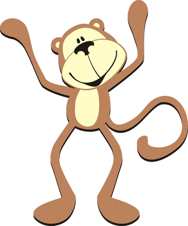mono caricatura: mono de saludo de dibujos animados aislados  Vectores