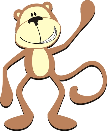 isolated cartoon greeting monkey 矢量图像