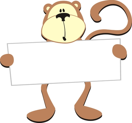 dim monkey with blank board for copy space