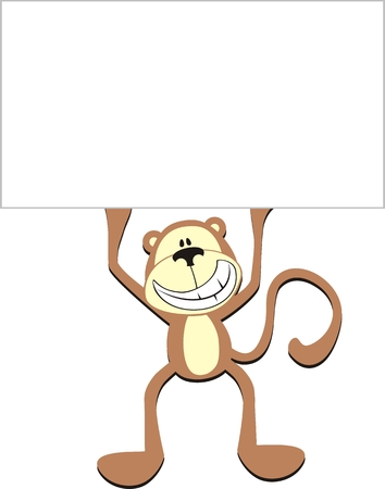 happy monkey with blank board for copy space Illustration