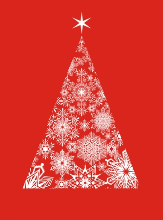 christmas tree of snowflakes on red background Vector