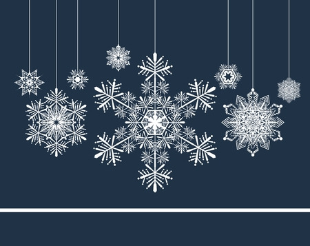 christmas background with snowflakes Vectores