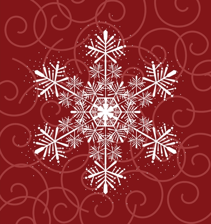 winter background with big snowflake on curl shapes background Vector