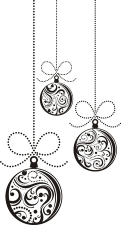 isolated christmas balls with scrolls ornaments