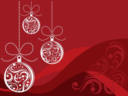 スワール: クリスマス ボールと赤の背景の装飾をスクロールします。