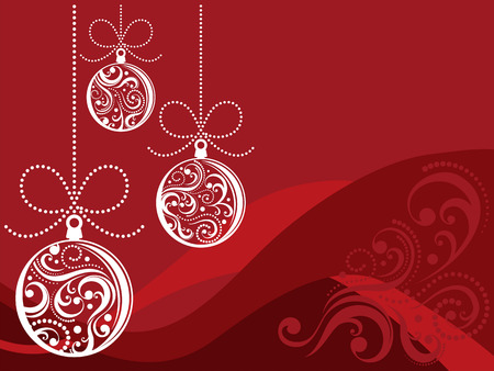christmas backgrounds: christmas balls with scrolls ornaments on red background