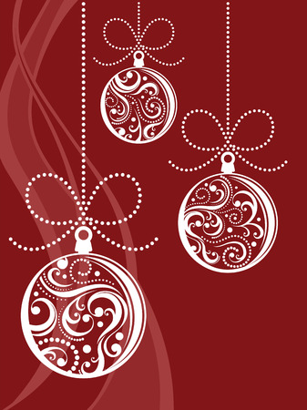 christmas balls with scrolls ornaments on red background Stock Vector - 8128758