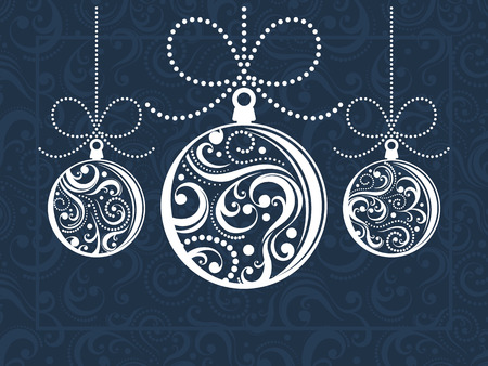 christmas balls with scrolls ornaments on decorated background