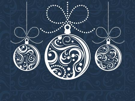 Kerst ballen met schuift ornamenten op ingerichte achtergrond