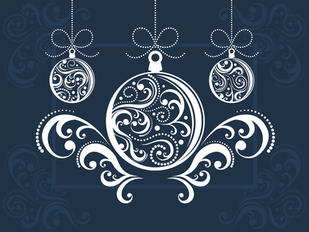 christmas balls with scrolls ornaments on decorated background Stock Vector - 8128762