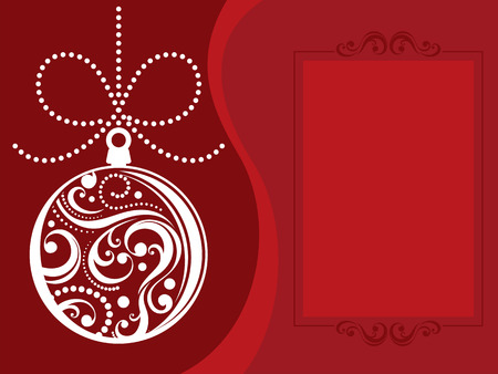 christmas ball with scrolls ornaments on red background Stock Vector - 8128757