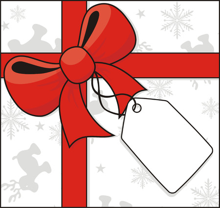 cross ribbon and bow with hang tag on christmas related background  イラスト・ベクター素材