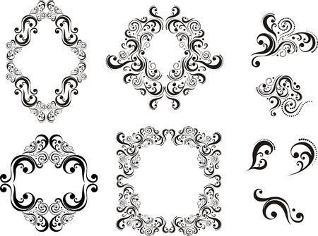 damast: Set of Design Elements isolated on white Background, einzelne Objekte Illustration