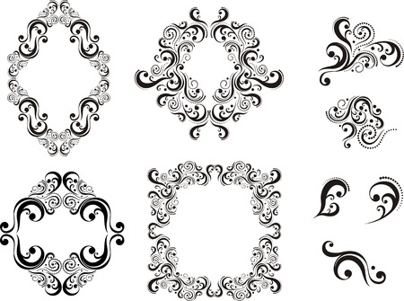 set of design elements isolated on white background, individual objects