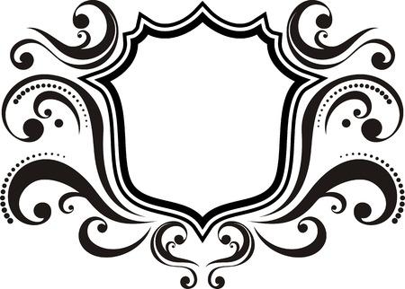 blason: blank emblem with vintage style design elements, use for logo, frame