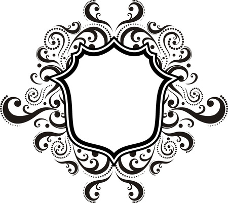 blank ornamental emblem with classic design elements, use for logo, frame  Ilustracja