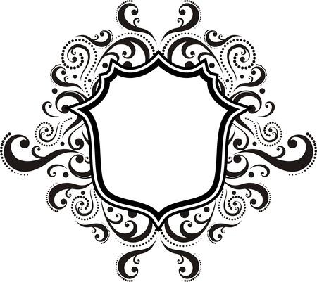 calligraphic design: blank ornamental emblem with classic design elements, use for logo, frame  Illustration