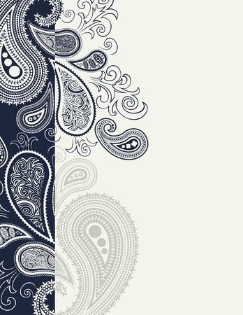 disegno cachemire: bordo cachemire backgroundin formato vettoriale, singoli oggetti molto facili da modificare Vettoriali