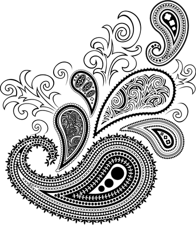 paisley design isolated on white background in vector format very easy to edit, individual objects Illustration
