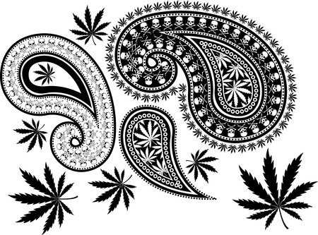 narcotic: cool paisley design with cross bones skull and cannabis leaves in vector format, individual objects