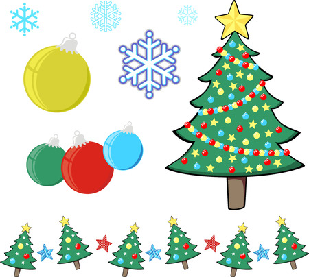 christmas tree and design elements for xmas designs, individual objects in vector format Çizim