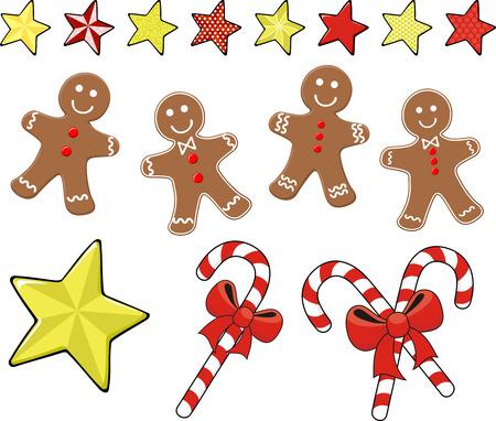 Conjunto de galletas de jengibre de Navidad con bastones de caramelo y estrellas para la decoración de Navidad, aislado sobre fondo blanco.