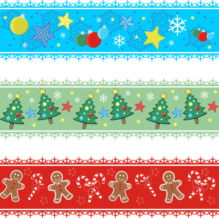christmas gingerbread: set of borders with designs for christmas Illustration