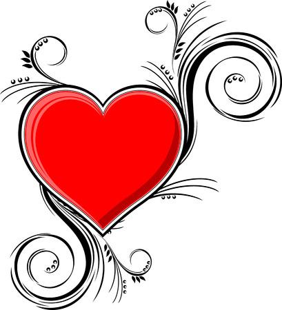 hart met florale ornamenten geïsoleerd op een witte achtergrond, individuele objecten zeer gemakkelijk in formaat te bewerken