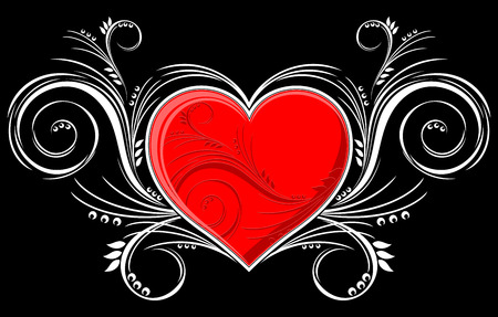 heart with floral ornaments isolated on black background, individual objects very easy to edit in format