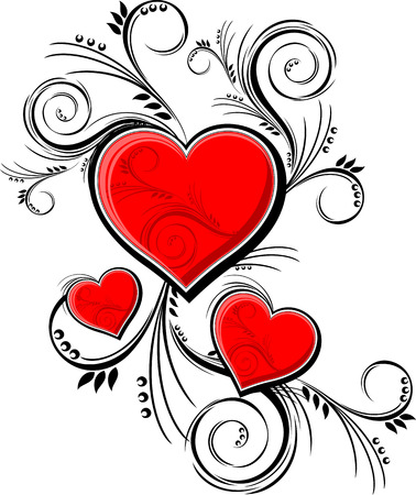 calligraphic design: hearts with floral ornaments isolated on white background, individual objects very easy to edit in format