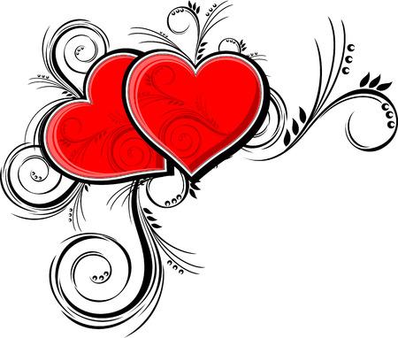 hart met bloemen ornaments geïsoleerd op een witte achtergrond, afzonderlijke objecten zeer gemakkelijk te bewerken in de indeling