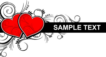 hearts with floral ornaments isolated on white background, individual objects very easy to edit in format Stock Vector - 8721105