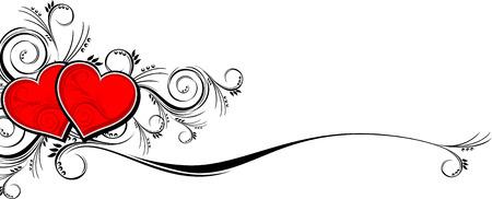 hart met bloemen versieringen geïsoleerd op een witte achtergrond, zeer gemakkelijk te bewerken in de indeling van afzonderlijke objecten Stock Illustratie