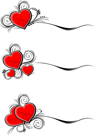 set of hearts with floral ornaments isolated on white background, individual objects very easy to edit in format