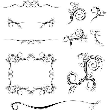 スワール: 一連の個々 のオブジェクトを編集する非常に簡単な形式で花の装飾品  イラスト・ベクター素材