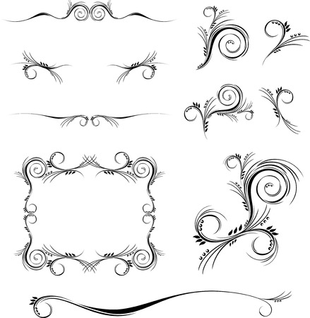 scrolls: set of floral ornaments in format very easy to edit, individual objects Illustration