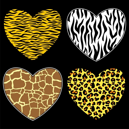 zebra: hearts with animal print in format, individual objects