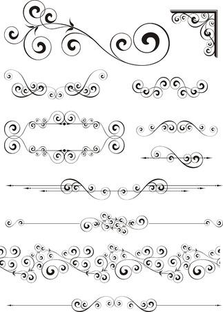 スワール: 個々 のオブジェクトを編集する非常に簡単な形式でカリグラフィ飾りセット  イラスト・ベクター素材