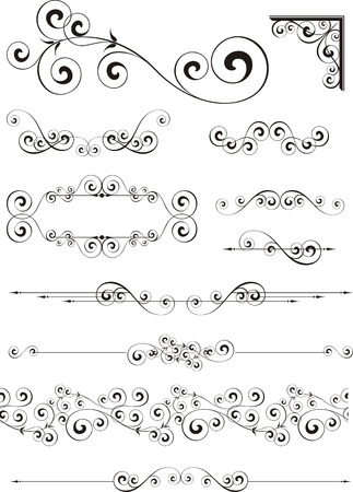 set of calligraphic ornaments in format very easy to edit, individual objects
