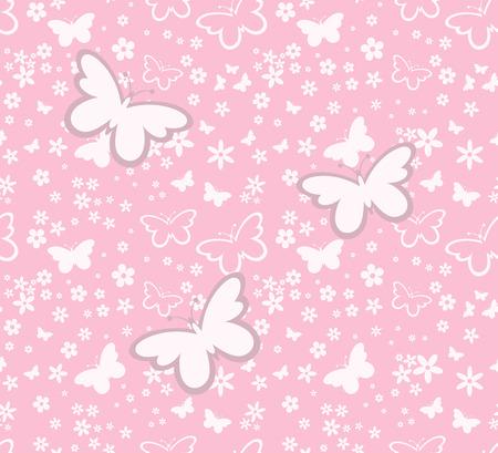 蝶のピンクの背景ベクトル形式の個々 のオブジェクトのシルエットのシームレスなパターン  イラスト・ベクター素材