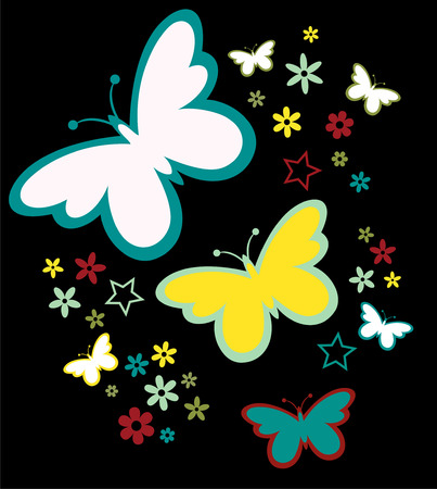 design of butterflies silhouettes and flowers in vector format very easy to edit, individual objects Reklamní fotografie - 8930759