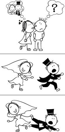 to wed: serie di cartoni animati coppia isolata, sposo fuggiasco, ideale per divertenti formato vettoriale invito di nozze, molto facile da modificare, singoli oggetti Vettoriali
