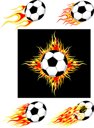set of burning soccer balls, in vector format individual objects