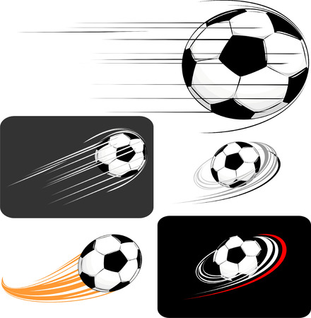 fast ball: set of soccer balls, in vector format individual objects