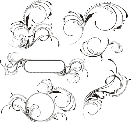 curls: design elements isolated on white background, individual objects