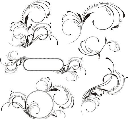 calligraphique: �l�ments de conception isol�s sur fond blanc, des objets individuels