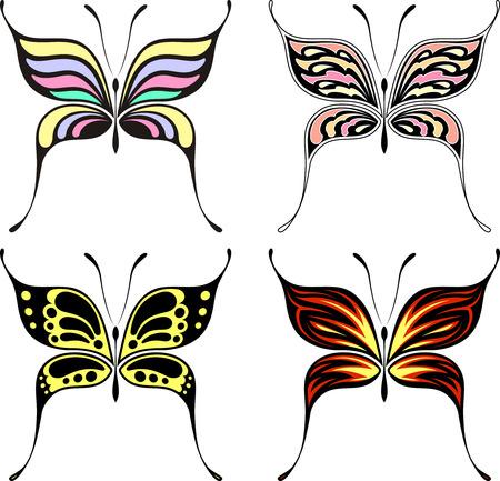 흰색 배경에 고립 된 4 개의 나비 디자인 집합