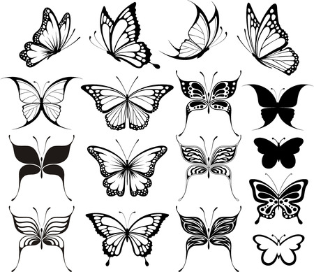 tatuaje mariposa: conjunto de mariposas siluetas aisladas sobre fondo blanco Vectores