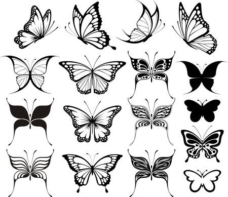 tatouage papillon: ensemble de papillons silhouettes isol�s sur fond blanc Illustration